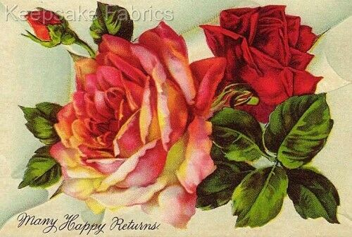 Roses Many Happy Returns Crazy Quilt Block Multi Sizes FrEE ShiPPinG WoRld WiDE