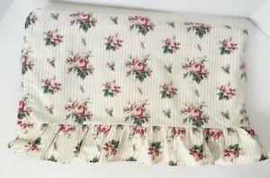 Rare-Vintage-Ralph-Lauren-Emma-Sophie-Brooke-Floral-Stripe-Ruffle-Sheet-Queen