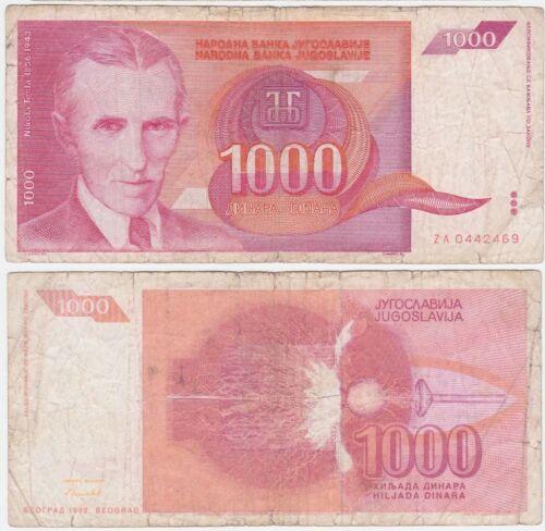 Yugoslavia REPLACEMENT ZA P 114 - 1000 Dinara 1992 - Fine