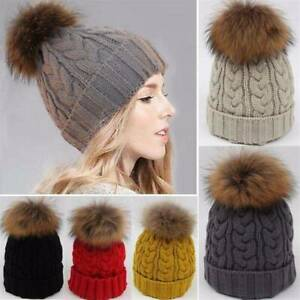 WOMEN-LADIES-WINTER-WARM-FUR-KNITTED-HAT-SKI-POM-BOBBLE-BAGGY-CROCHET-BEANIE-CAP