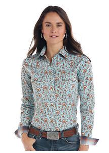 Panhandle-Slim-Women-039-s-Turquoise-amp-Brown-Vintage-Print-Shirt-R4S1502-R4X1502