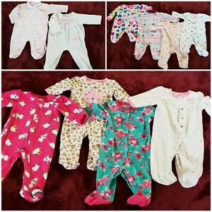 Lot-of-10-baby-girl-pijamas-0-6-Months-very-clean