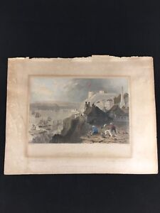 W-H-Bartlett-Hand-Colored-Etching-Citadel-of-Quebec-Canada-Published-1840