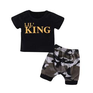 4dec924e69b4 2Pcs Toddler Kids Baby Boy Leatter T-shirt Tops Pants Shorts Outfits ...