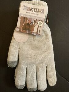 New-Muk-Luks-Gloves-Womens-Ghost-OSFM-Winter-White-With-Touch-Screen-Feature