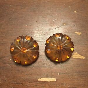 Vintage-Carved-Lucite-and-Rhinestone-Clip-On-Earrings