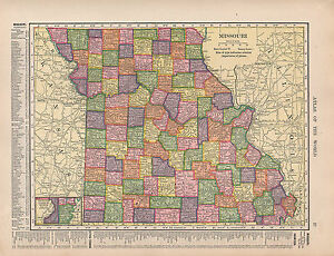 MAP MISSOURI STATE ARK KANSAS CITY COUNTIES CITIESTOWNS EBay - Missouri state map with cities