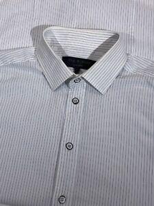 Rag-amp-Bone-New-York-White-Striped-Button-Front-Dress-Shirt-Mens-Sz-15