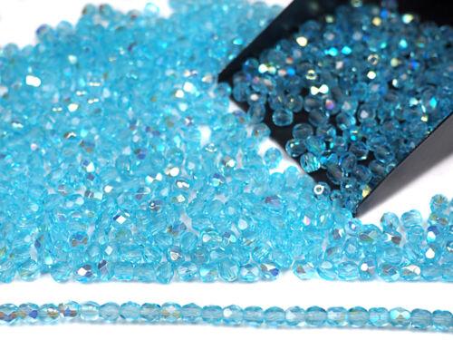 300 Preciosa Czech Glass Fire Polished Round Beads 6mm Aqua AB lt.blue coated