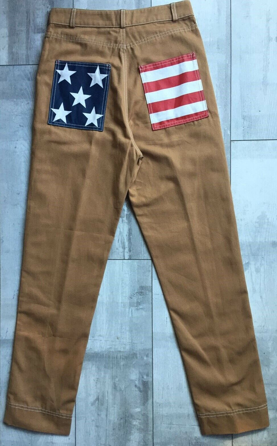HILFIGER COLLECTION TOBACCO COTTON UTILITY WORKWEAR PANTS ITALY US4 S