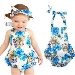 9e8ac5664 Infant Baby Romper Girls Floral Print Ruffles Jumpsuit Outfits ...