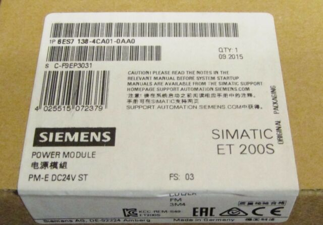 nuevo con embalaje original Siemens Simatic et 200s 6es7 138-4ca01-0aa0