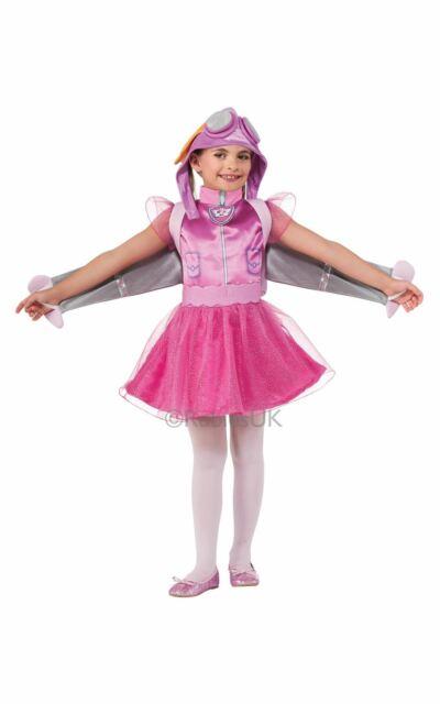 Girls Skye Paw Patrol Cartoon Dog Pilot Fancy Dress Costume Kids Child Ages 1-4