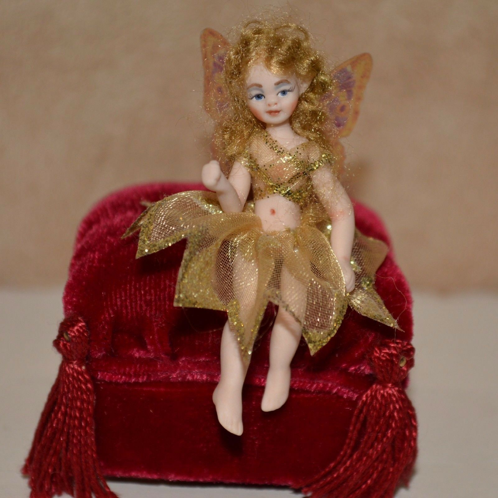 Miniature porcelain doll fairy girl 1 12 dollhouse