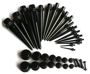 16g-00g-Black-Ear-Stretching-Gauging-Kit-Plugs-Tapers-Instructions-expander