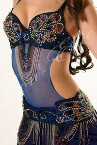 Belly Dance Cut-Out Costume Belly Body Stocking Dance wear Silver Sparkles