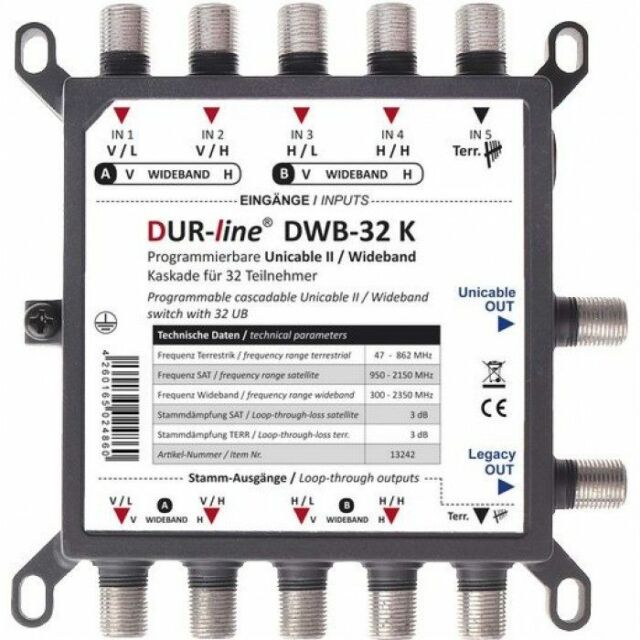 DUR-line DPC-32 K Wideband Einkabellösung | SCR, Unicable, für Wideband LNBs