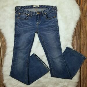 Free-People-Women-039-s-Low-Rise-Skinny-Leg-Flare-Jeans-Size-28-Med-Wash-Stretch