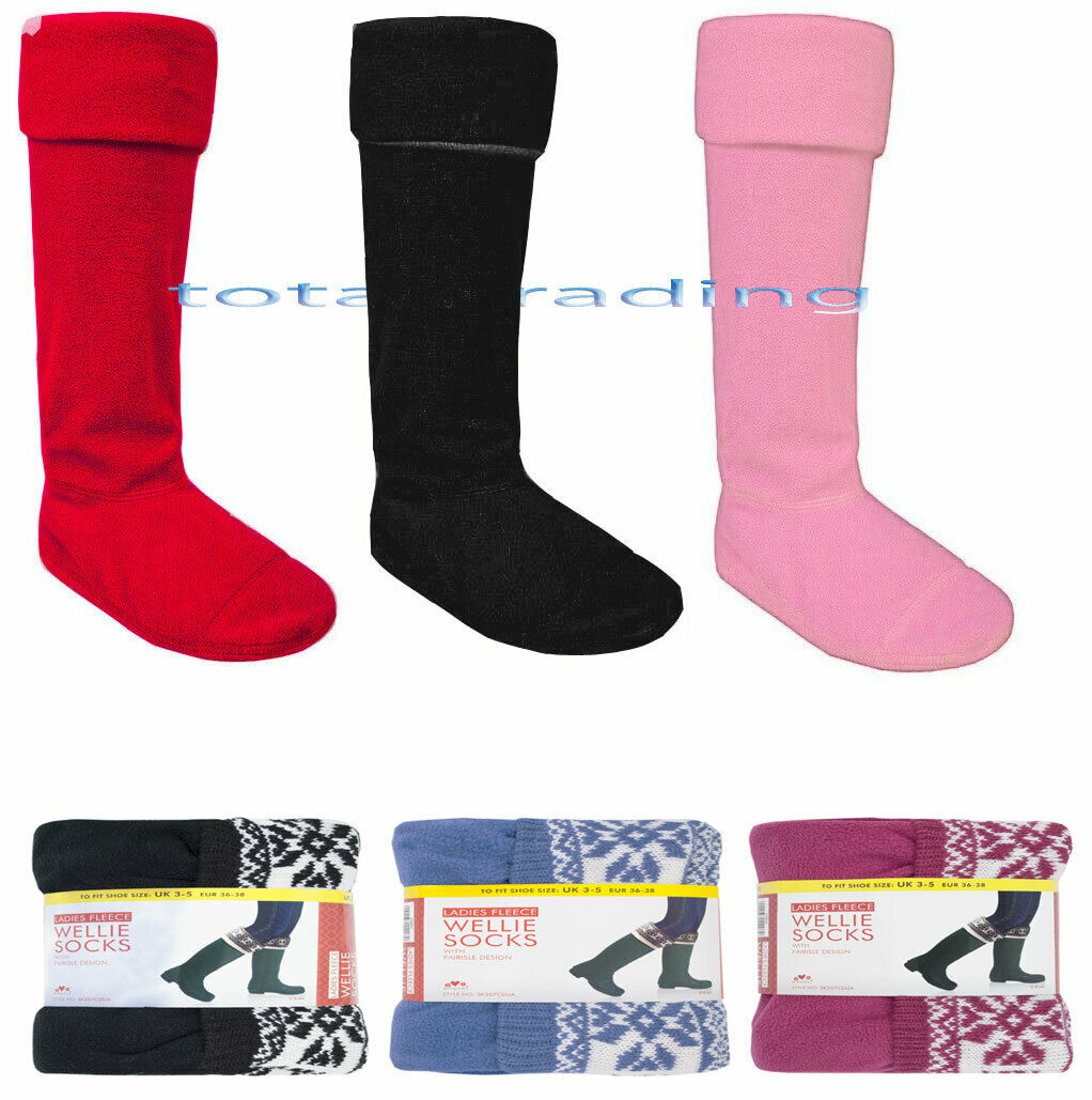 New Womens Wool Blend Boots Socks Wellington Welly Girls Thermal Long Size 4-7