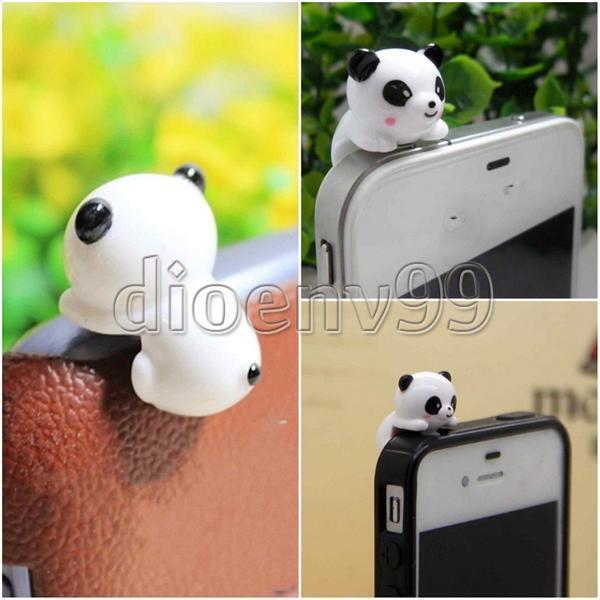 Mobile Phone Cute Panda Form Anti-Dust Plug Earphone Dustproof Cover Stopper Cap