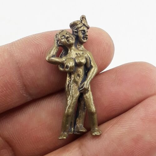 Thai Brass Paladkik Nary Magic Holy Brass Thai Amulet Charm Wealth Luck Charm