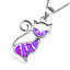 Fashion 925 Silver Jewelry Cat Purple Fire Opal Charm Pendant Necklace Chain HOT