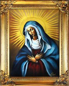 Religion-Maria-Handarbeit-Olbild-Bild-Olbilder-Rahmen-Bilder-G00316
