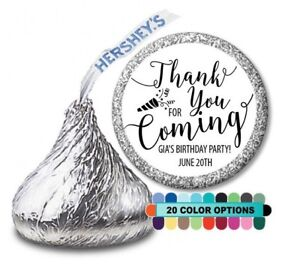 Birthday Party Personalized Party Favor Hershey Kiss Label Thank you for coming
