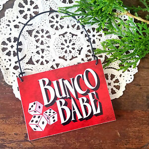 BUNCO-BABE-Ornament-Red-Bunco-Group-Gifts-Party-Favor-Mini-Wood-Sign-USA-New