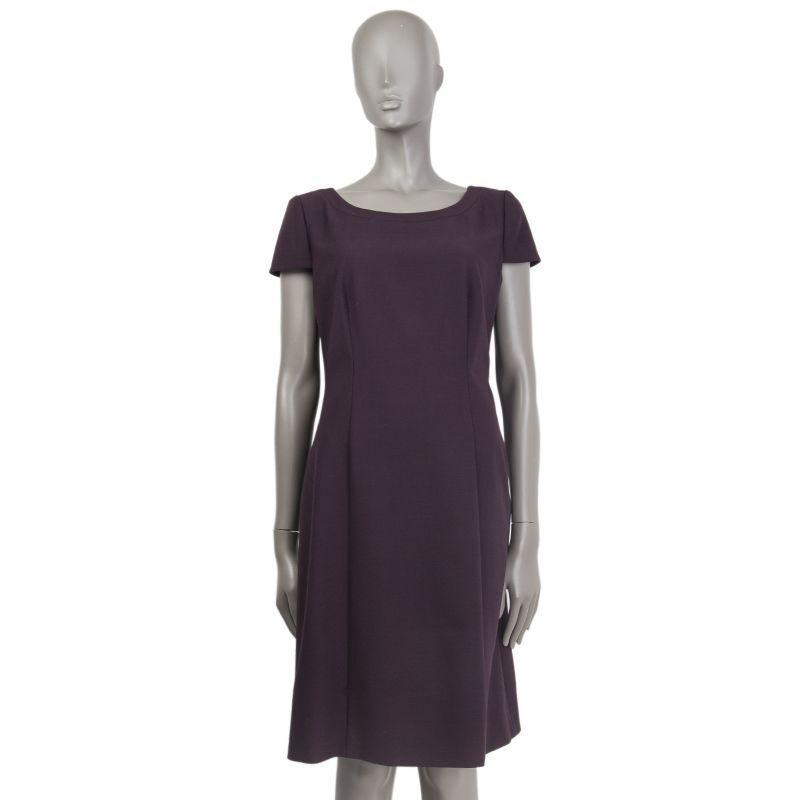 54668 auth PRADA eggplant wool Cap Sleeve Sheath Dress 46 XL