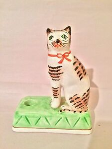 "VTG Cat White Brown and Black Ceramic Japan 7 1/2"" Tall"