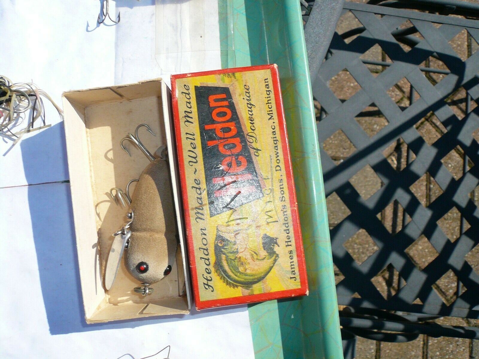 HEDDON CRAZY CRAWLER 2120 GM GORGEOUS RED EYE ,LEATHER TAIL  ,ORIG BOX
