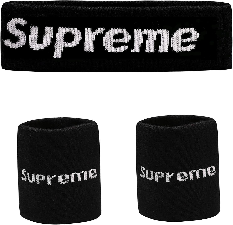 The Mass Sweatband Supreme Headband 2x Wrist 1x Headband BLACK NWT