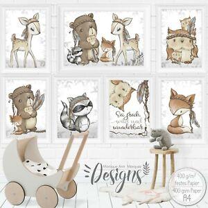 A3-Poster-Kinderzimmer-Bilder-Babyzimmer-Kinder-Bild-Waldtiere-Tiere-A3-S-51