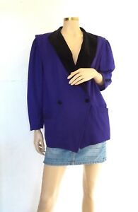 Fabuleuse en veste 1980 et années laine royal bleu Antoinette velours OTwdqO4