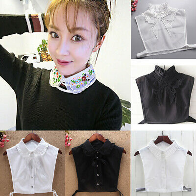 Womens Girls Detachable Fake False Collar Tie Lapel Shirt Blouse Choker Necklace