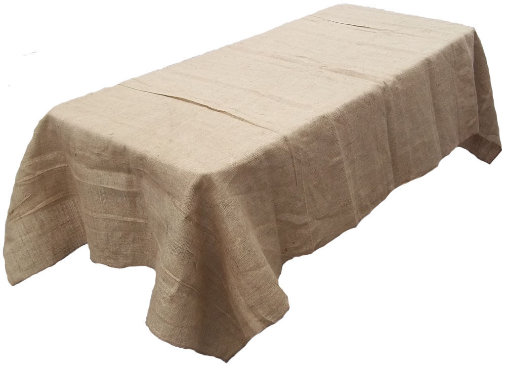 10 Lot 90 ×132  Burlap Tablecloths Rectangle 100% Fine Natural Jute 6 ft Wedding