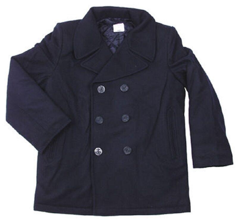 US Vintage Navy Pea Coat Marine Army Kurzmantel Mantel Jacke Blau blau M  Medium