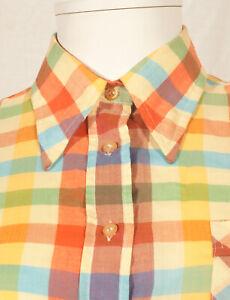 034-Claude-Lerins-039-s-annees-60-francais-vintage-Madras-shirt-UK-10