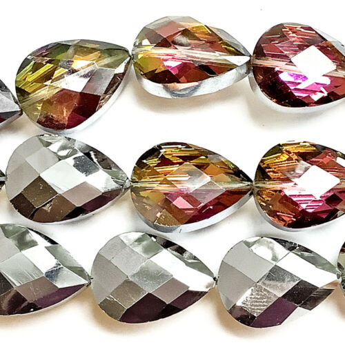 Blue Brown Purple 18x13mm Faceted Teardrop Chinese Crystal Glass Beads Q1 Strand