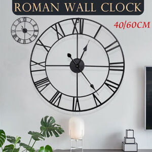 60CM EXTRA LARGE ROMAN NUMERALS SKELETON WALL CLOCK GIANT OPEN FACE ROUND BLACK