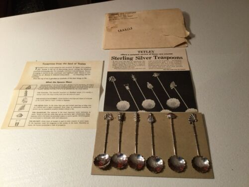 RARE ANTIQUE STERLING SILVER TETLEY TEA TEASPOON SET