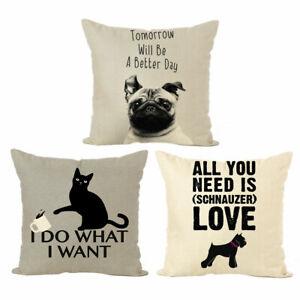 Am-Words-Animal-Dog-Cat-Linen-Throw-Pillow-Case-Cushion-Cover-Art-Home-Decor-Ey