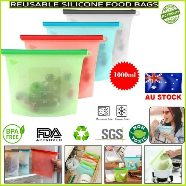 Reusable Silicone Food Storage BPA Free FDA Bags Leakproof Airtight Seal Ziplock