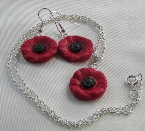 Fimo Red /& Black Poppy Flower Charm Necklace Earring Gift * Handmade in UK