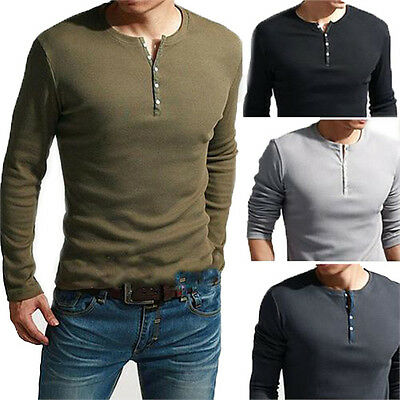 Men's Cool Long Sleeve Henley Slim Fit T-Shirt TEE Dexter Kill Army Green Black