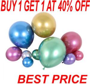 "20 METALLIC LATEX Pearl Chrome Ballons 12"" Hélium Ballon Happy Birthday Party"