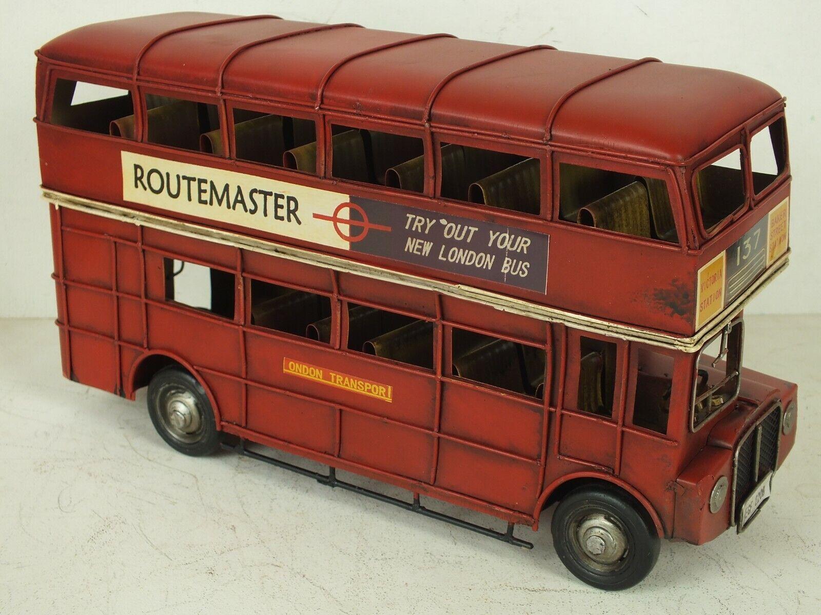 Großer Autobus Blechspielzeug roter London Doppeldecker Bus Routemaster 32 cm