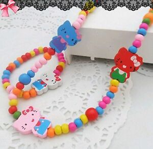 0b12bede2 Kids Girls Children Party Hello Kitty Wooden Beads Necklace bracelet ...