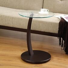 Accent Living Room Round Snack Side Sofa Table Stand Round Glass Top Wood Base
